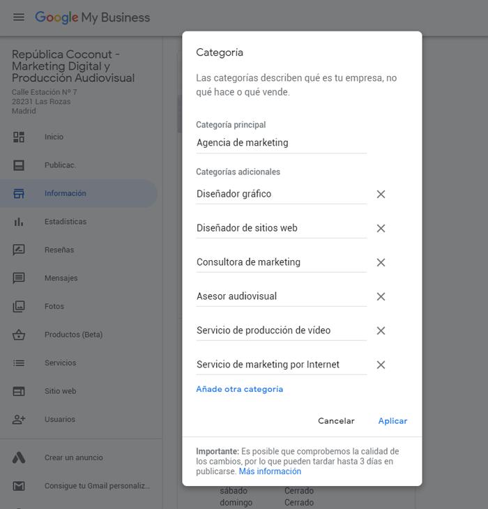 Categorias Google My Business