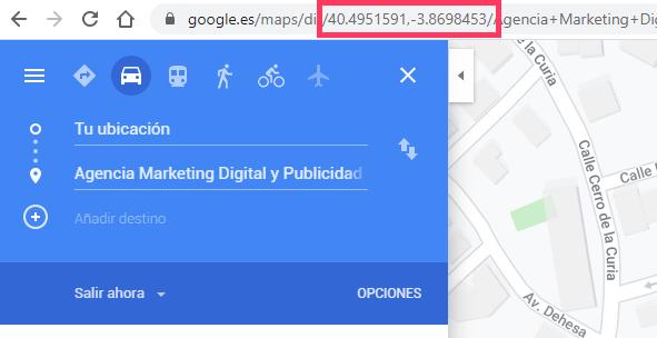 coordenadas en google maps